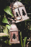 Old lantern in the deserted garden Stock Photos