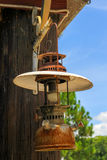 Old lantern hang on wood Stock Images