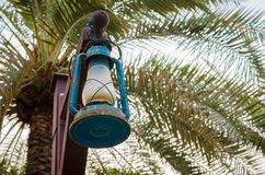 Old lantern. In a post in Aflaj village inside a park Royalty Free Stock Images
