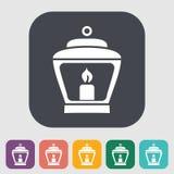 Old lantern. Single icon on the yellow note paper. Vector illustration stock illustration