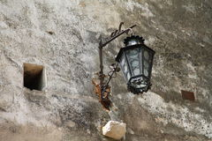 Old lantern on the wall of the castle Bran Royalty Free Stock Images