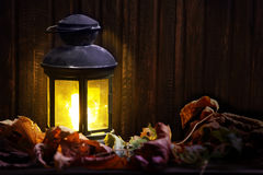 Old lantern on wooden boards Royalty Free Stock Photography
