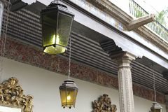 Old lanterns chained, Casa de los Azulejos, CDMX stock photography