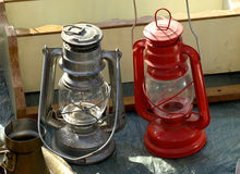 Old lanterns. For sale at antiques fair Stock Photo