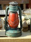 Old lanterns. For sale at antiques fair Stock Photography