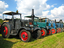 Old Lanz and Hanomag tractors. With a luxury equipment Stock Image