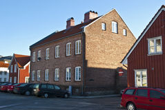 Old large brick house in Halden. Stock Photo