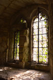 Old Large gothic windows of medieval castle in autumn, Carisbrooke Castle, Newport, the Isle of Wight, England Royalty Free Stock Image