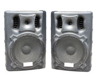 Old large powerful Audio Speakers Isolated on White Royalty Free Stock Images