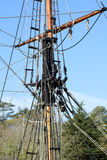 Old Large Sailing Ship Rigging and Mast Stock Photography