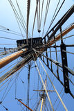 Old Large Sailing Ship Rigging and Mast. With blue sky in Cornwall UK Stock Photography