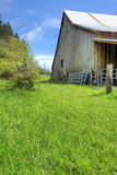 Old large shed with green spring landscape. Royalty Free Stock Photos