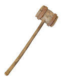 Old large sledge hammer isolated. Old large sledge hammer with wooden handle and wooden head with heavy rusted iron bands Stock Image