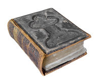 Old large worn Bible isolated. Royalty Free Stock Image