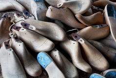 Old lasts for shoes. Several lasts for shoes,now having become antiques royalty free stock image