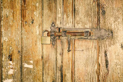 Old latch with padlock Stock Photography