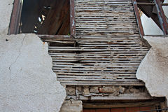Old lath and plaster on derelict building Stock Image