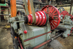 Old lathe driven by belt transmission with different  gearing shaft Royalty Free Stock Images