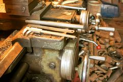 Old lathe in manufacture Stock Photos