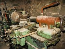 Old lathe in the workshop in the natural park Olenyi brooks in the Sverdlovsk region royalty free stock images