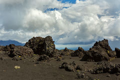 Old lava fields on slopes of volcanoes Tolbachik Royalty Free Stock Images