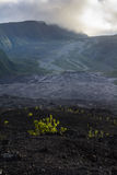 Old lava flow and crater of Fournaise volcano at Reunion Island Stock Image