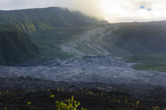 Old lava flow and crater of Fournaise volcano at Reunion Island Royalty Free Stock Images