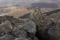 Volcanic rocks and lava plain Tenerife Canary Islands royalty free stock photography