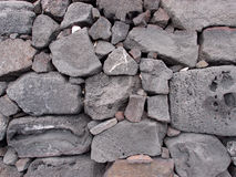 Old lava stone wall. Close-up of a Old lava stone wall on the Big Island Hawaii Stock Photo