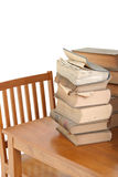 Old Law Books on Desk. Old torn and worn law books stacked on a wooden table.  Books 70 years old Royalty Free Stock Photos