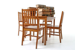 Old Law Books, Table, Chairs Stock Image