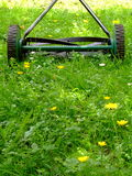 Old Lawn Mower. An old hand mower sitting in long and weedy grass Royalty Free Stock Photography