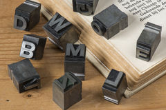Old lead ink printing type from a book printing company Stock Photo