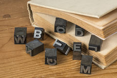 Old lead ink printing type from a book printing company. Historical metal letters from an old printing machine royalty free stock photography