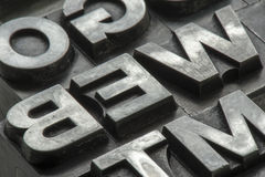 Old lead ink printing type from a book printing company. Historical metal letters from an old printing machine. Created and used in Netherlands in the middle stock photos