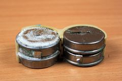 Old leaked and corroded nickel cadmium batteries.  Stock Images