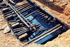 Old leaking oil pipes royalty free stock photo