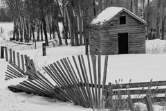 Old leaning fence in black and white. Old shed and a leaning wood slat fence in winter Stock Photography