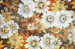 Old leather. With flowers, can be used for background Stock Photos