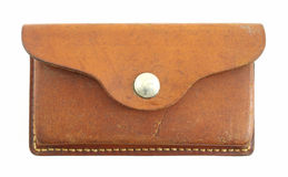 Old leather ammunition pouch Stock Photos