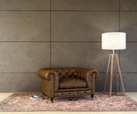 Old Leather Armchair with a Lamp Royalty Free Stock Photos