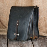 Old leather bag. For tools Stock Photo
