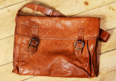 Old leather bag. Picture of the old leather bag Royalty Free Stock Images