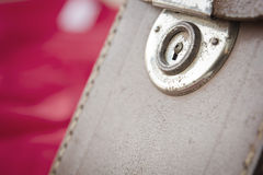 Old leather bag with rusty lock Royalty Free Stock Image