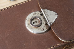 Old leather bag with rusty lock Royalty Free Stock Images