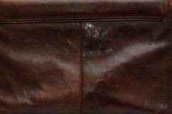 Old leather bag texture with a visible seam. Old brown leather bag texture with a visible seam Stock Image