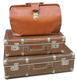 Old leather bag and two old suitcases Stock Photo