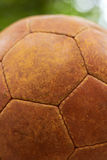 Old leather ball, closeup. Royalty Free Stock Photos