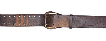 Old leather belt isolated on white Stock Photo