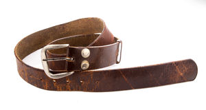 Old Leather Belts isolated on white background Royalty Free Stock Photos
